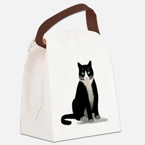 Tuxedo Kitty Cat Canvas Lunch Bag