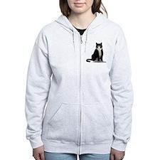 Tuxedo Kitty Cat Zip Hoody
