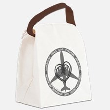 Peace Love Adventure - Gray Canvas Lunch Bag