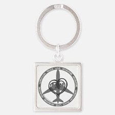 Peace Love Adventure - Gray Square Keychain