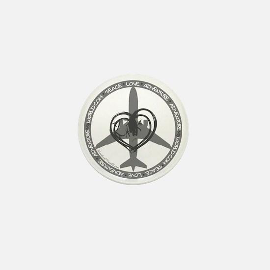 Peace Love Adventure - Gray Mini Button