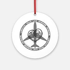 Peace Love Adventure - Gray Round Ornament