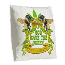 queen tshirt Burlap Throw Pillow