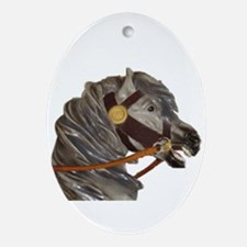 gray carousel horse Oval Ornament