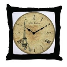 Vintage picture Eiffel Tower Clock Throw Pillow