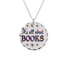 BOOKS Necklace Circle Charm