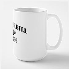 hawkbill black letters Mug