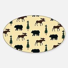 Bear Moose Laptop Skin Sticker (Oval)