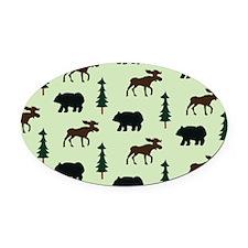 Bear Moose Laptop Skin Oval Car Magnet