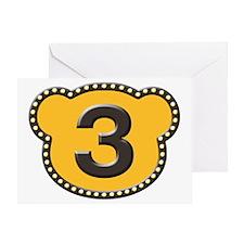 Bear Head Number 3 three Greeting Card