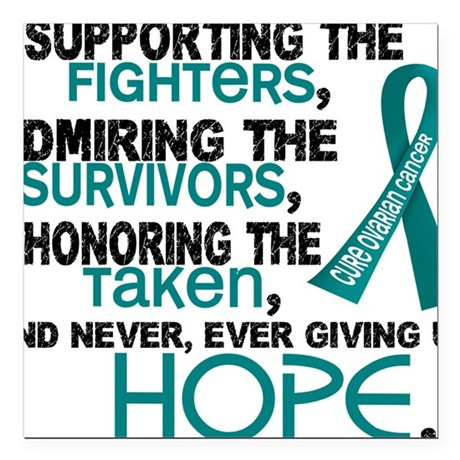 """D Ovarian Cancer Support Square Car Magnet 3"""" x 3"""""""