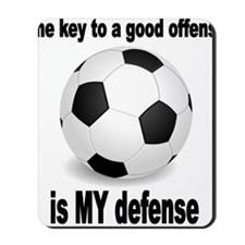 SOCCER key to go offense black letters Mousepad