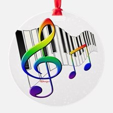Rainbow Treble Clef Round Ornament