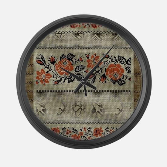 Ukrainian Embroidery Large Wall Clock