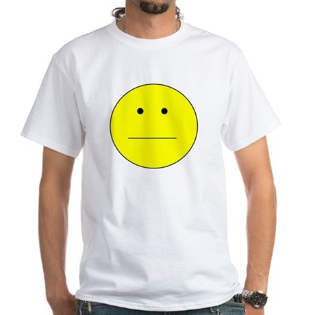 Straight Smiley Face White T-Shirt
