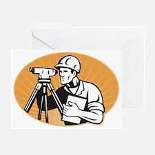 Surveyor Engineer Theodolite Total S Greeting Card