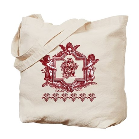 Letter A Maroon Cherub Fancy Monogram Tote Bag