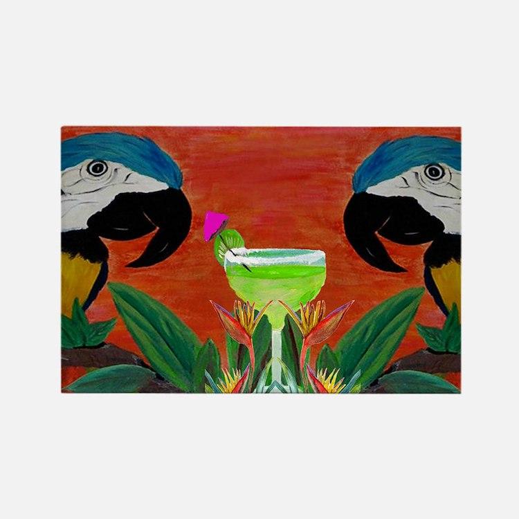 Parrots  Margarita Rectangle Magnet
