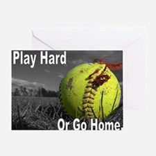 softball play hard or go home Greeting Card