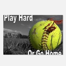softball play hard or go  Postcards (Package of 8)