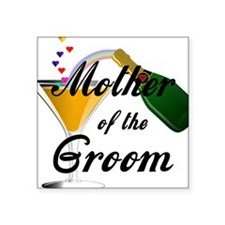 "mother of groom black Square Sticker 3"" x 3"""