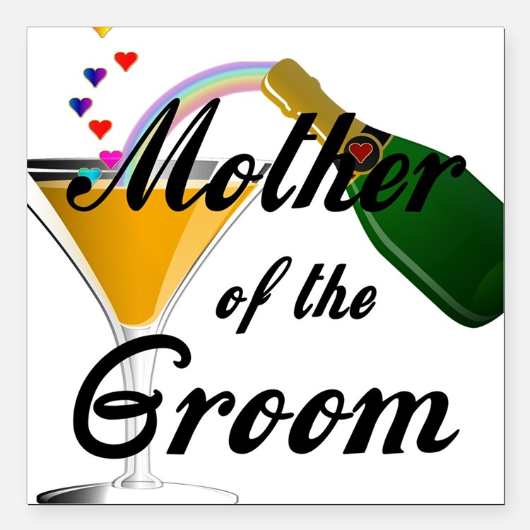 "mother of groom black Square Car Magnet 3"" x 3"""