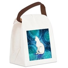 Prim White Kitty Cat Canvas Lunch Bag