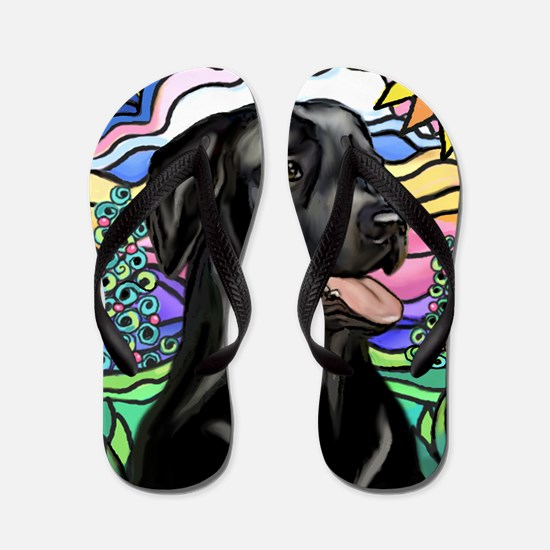 Country-1L-BlackLab-pointed rays Flip Flops