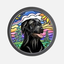 Country-1L-BlackLab-pointed rays Wall Clock