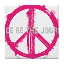 Peace be the Journey - Pink Black Tile Coaster