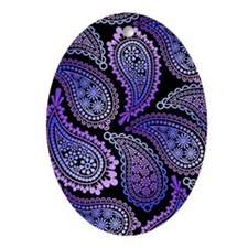 purple paisley slider Oval Ornament
