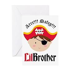 PirateLilBrotherBrown Greeting Card