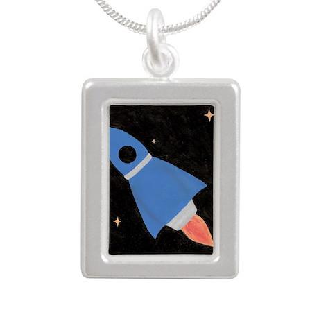 Blue Rocket Ship in Oute Silver Portrait Necklace