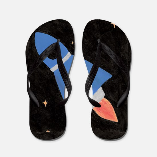 Blue Rocket Ship Flip Flops