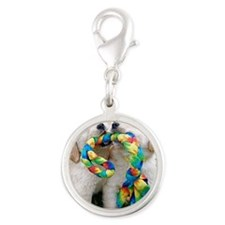 Cute Puppies Jigsaw Puzzle Silver Round Charm