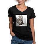 Brown Teager Cap Women's V-Neck Dark T-Shirt