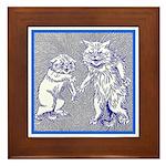 KITTY CATS IN BLUE Framed Tile