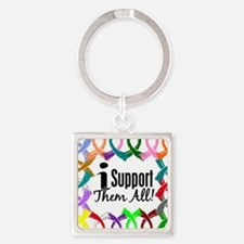 D All Ribbons 3 Square Keychain