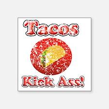 "Vintage Tacos Kick Ass Square Sticker 3"" x 3"""