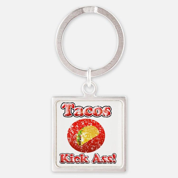 Vintage Tacos Kick Ass Square Keychain