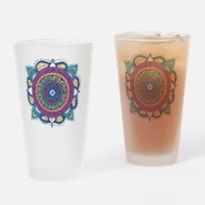 Medallion-Teal and Raspberry Drinking Glass