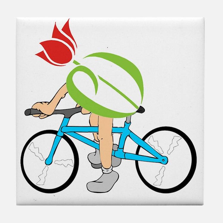 pdtulip-bike Tile Coaster