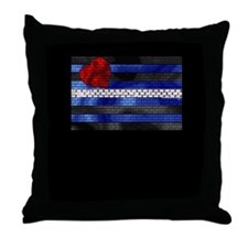 LEATHER PRIDE FLAG/BRICK/BLK Throw Pillow