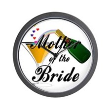 mother of bride black Wall Clock