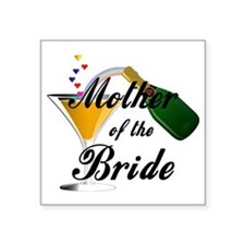 "mother of bride black Square Sticker 3"" x 3"""