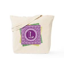 Letter L Mardi Gras Fleur De Lis Monogram Totebag
