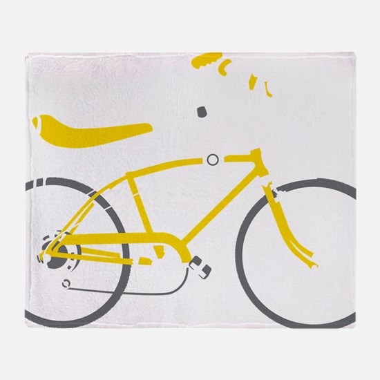 bananna bike dark Throw Blanket