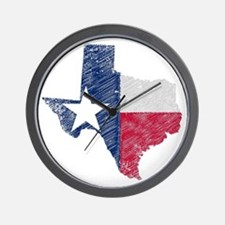 Texas Map Grunge and Flag Wall Clock