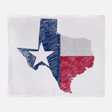 Texas Map Grunge and Flag Throw Blanket