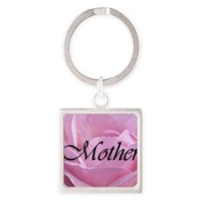 Pink Rose Mother Square Keychain